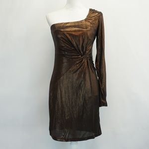ASTR Metallic Twist Front One Shoulder Dress M